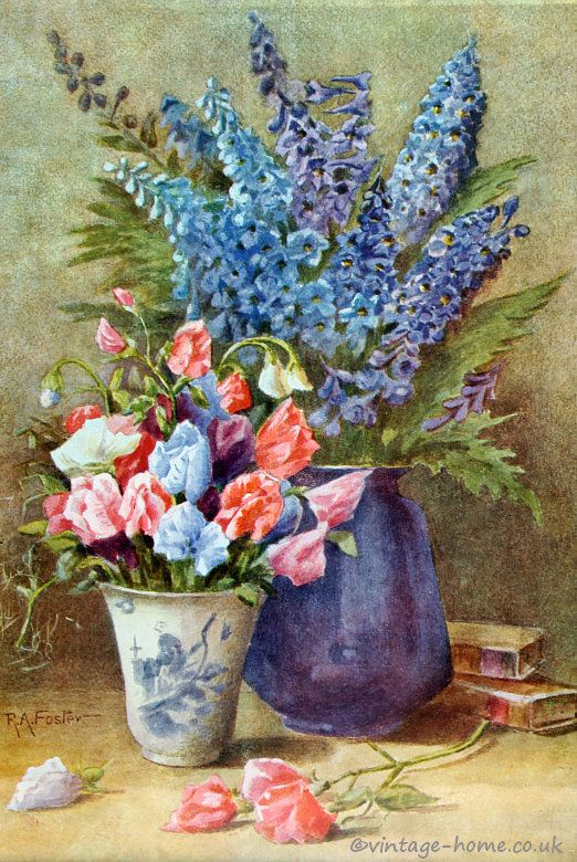 Vintage Home - Pretty 1930s Sweet Peas and Delphiniums Print: www ...