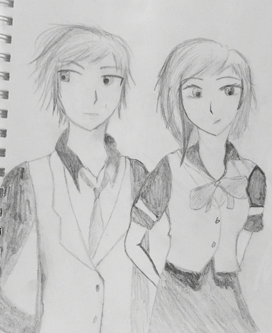 Anime school girl/boy drawing  Anime school girl, My drawings