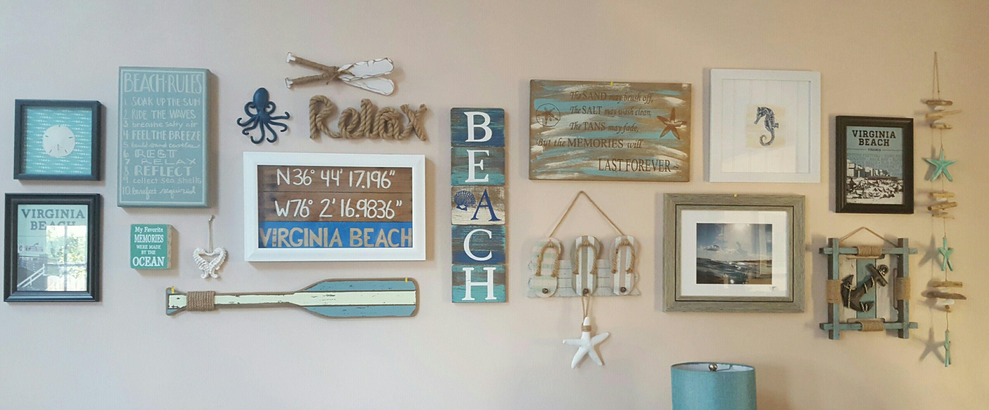 Liking My Coastal Themed Gallery Wall Gallery Wall Beach Theme Wall Decor Coastal Gallery Wall