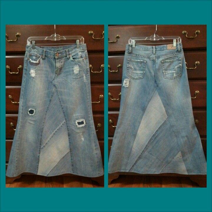 Multi piece jean skirt