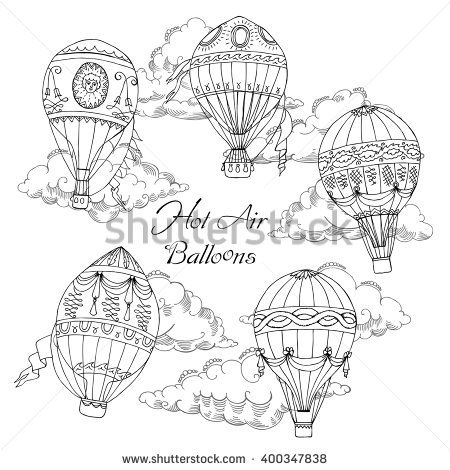 Background with Hot Air Balloons. Hand drawn sketches vector illustration - stock vector