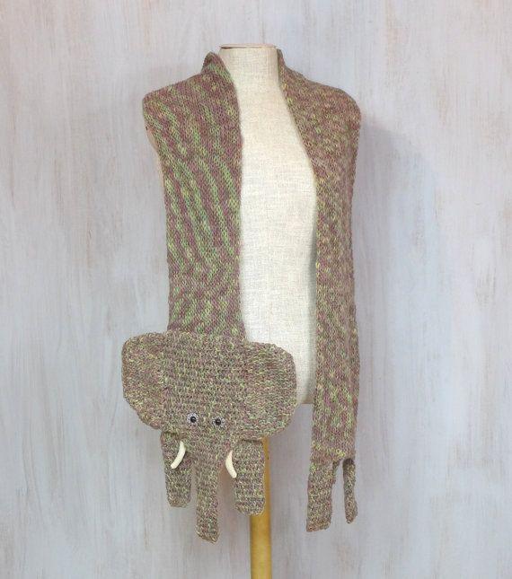 Knitted crochet elephant shaped scarf very long by Florfanka | Etsy ...