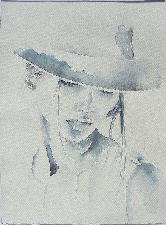 Woman In Hat Prints Digital Watercolor Print Printable Art