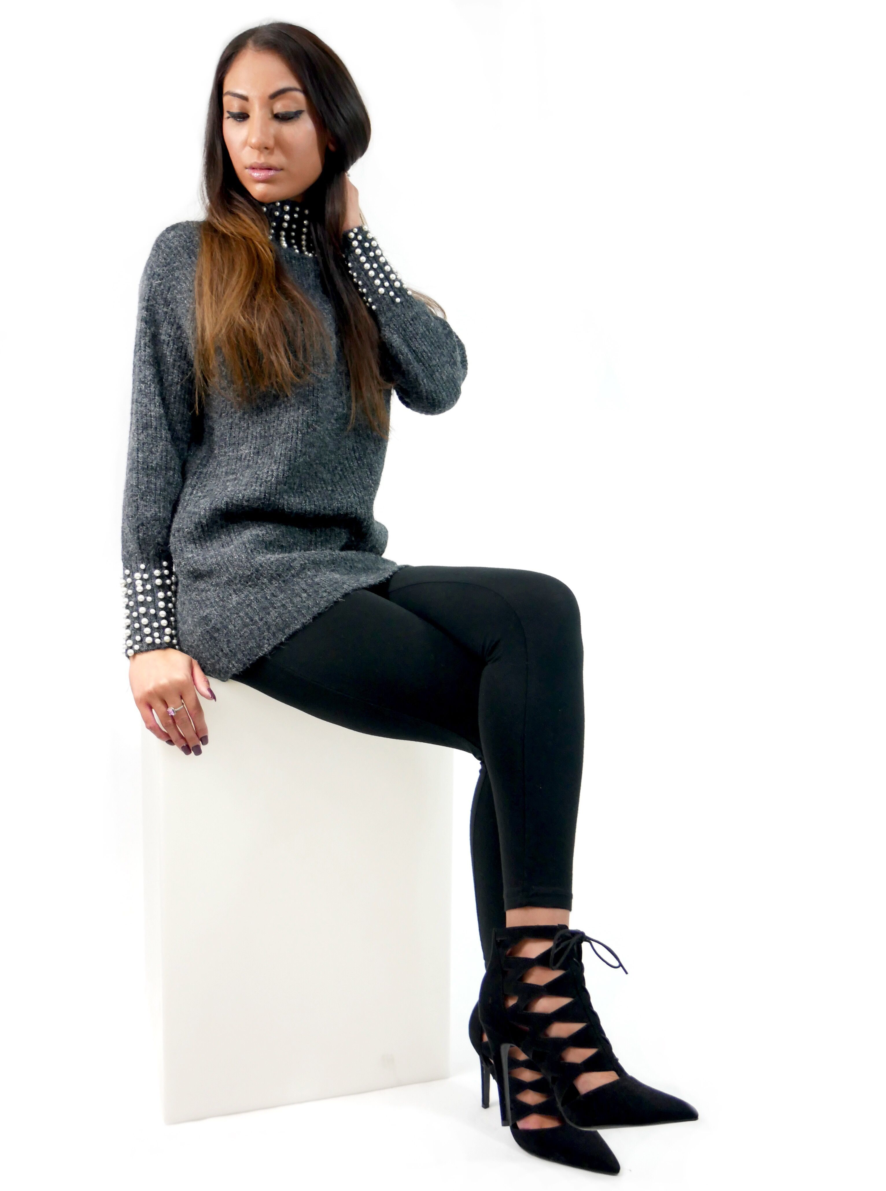7b570315 Charcoal grey high neck jumper with pearl detailing, available in store  with more colours.