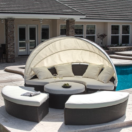 Westlake 4 Piece Cabana Canopy Set Brown Outdoor Daybed Patio Furniture Sets Pool Furniture