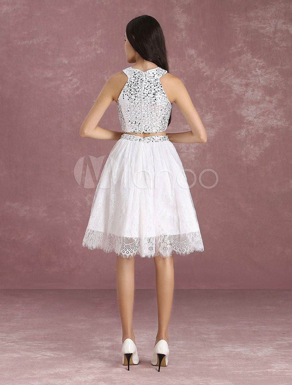 affb3cef4 Two Piece Homecoming Dress Ivory Lace Short Prom Dress Crop Top Sequin A  Line Knee Length Graduation Dress #Lace, #Short, #Prom