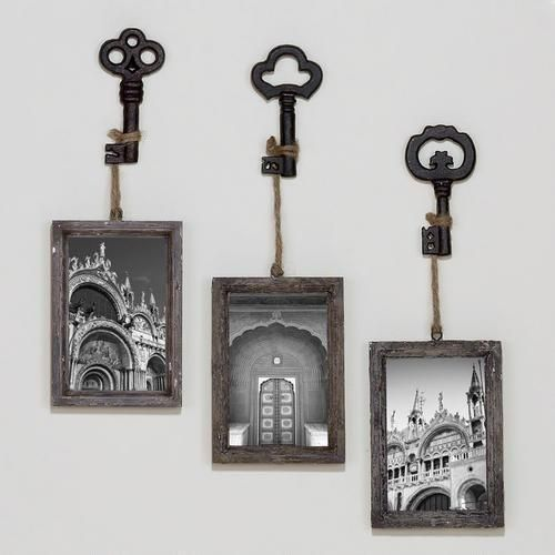 Sophie vintage key frame set of 3 world market rustic wall decorrustic
