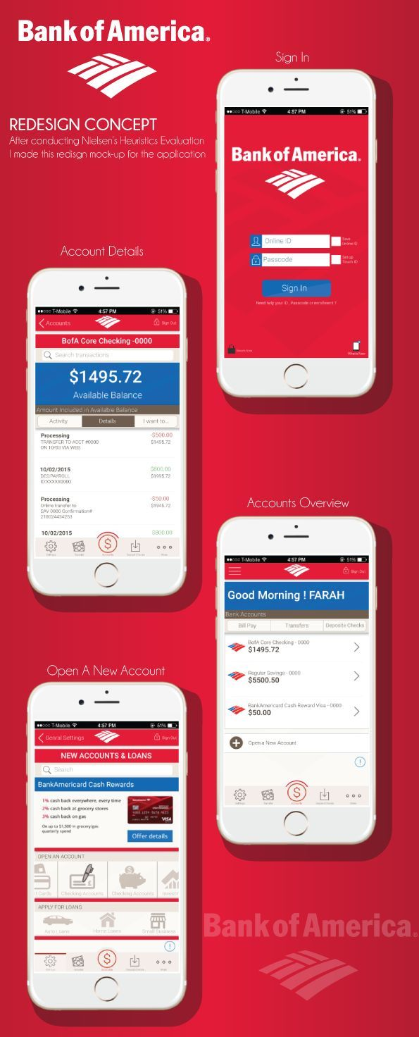 redesigning bank of america mobile application after conducting nielsens heuristics evaluation if you like ux design or design thinking check out
