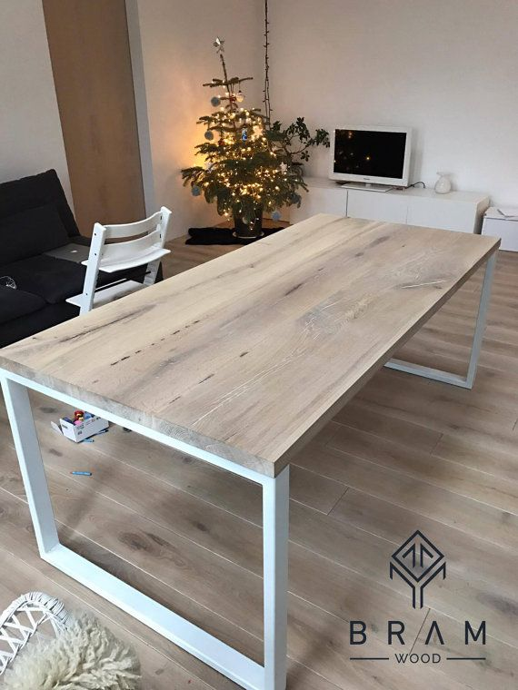 Bleached Oak Dining Table With Strong Metal Legs Can Be