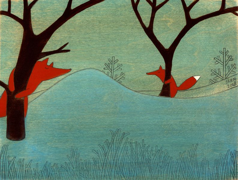 Where Are You, Fox is a print from a series of original acrylic illustrations on wood,