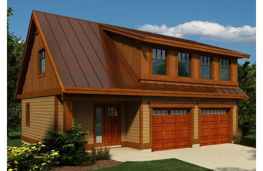 2 story garage 2 bay garage doors copper colored metal for Two story metal garage