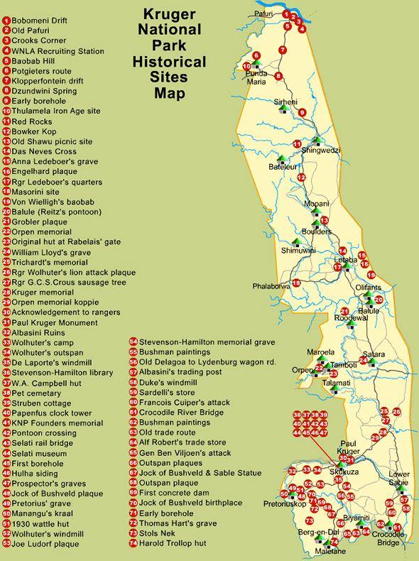 Kruger Park historical information map | MPUMALANGA PROVINCE