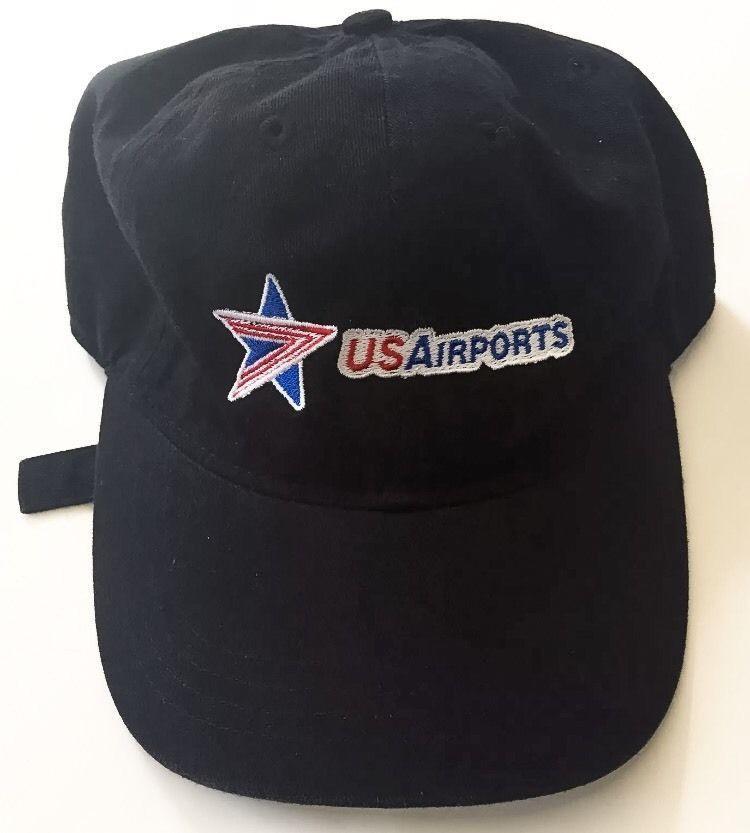 c470ba9d170 ... cheap us airports black baseball cap hat red white blue star logo  adjustable band rare 12529