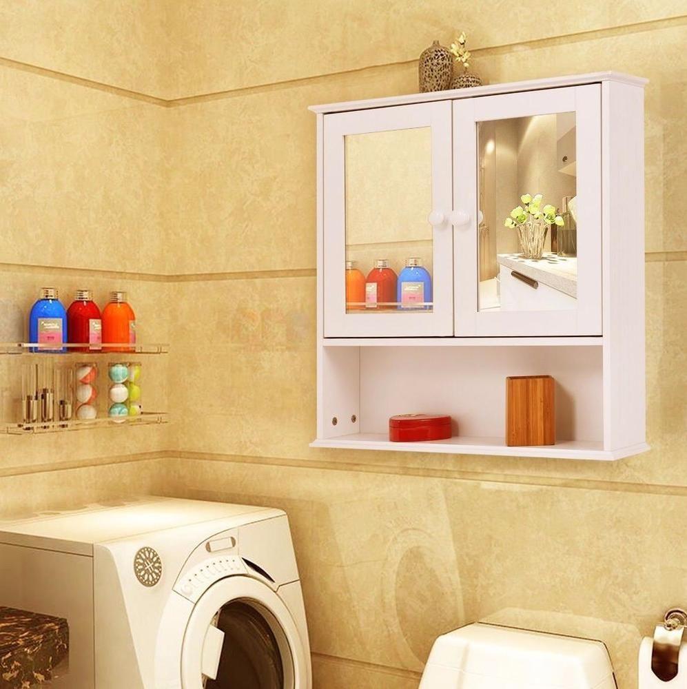 Bathroom Cabinet Storage Wall Mount Over Toilet Mirror Shelf Furniture White NEW #BathroomCabinetStorage