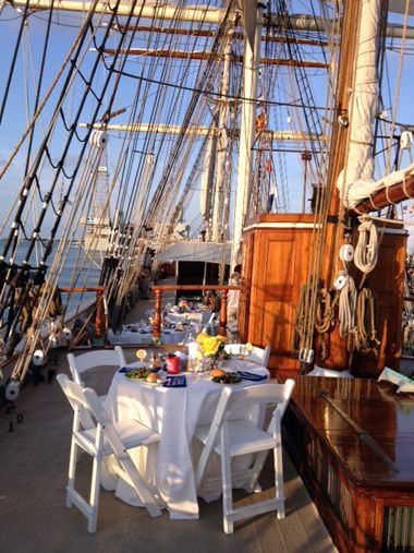 Set Up For Wedding Reception Aboard The Tall Ship Elissa Galveston Island Tx