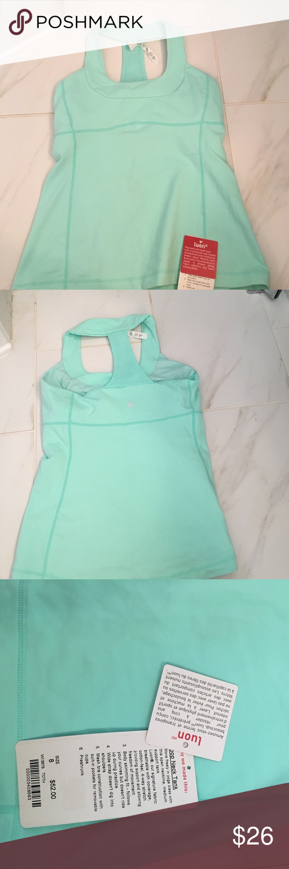 NWT Lululemon Racerback Tank Lululemon racerback tank in a light Aqua color. Has built-in shelf bra. New with tags!! Perfect condition. lululemon athletica Tops Tank Tops