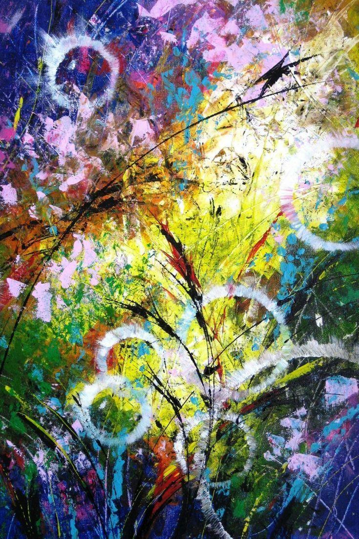 Abstract canvas art decor Office modern wall art canvas Blue pink ...