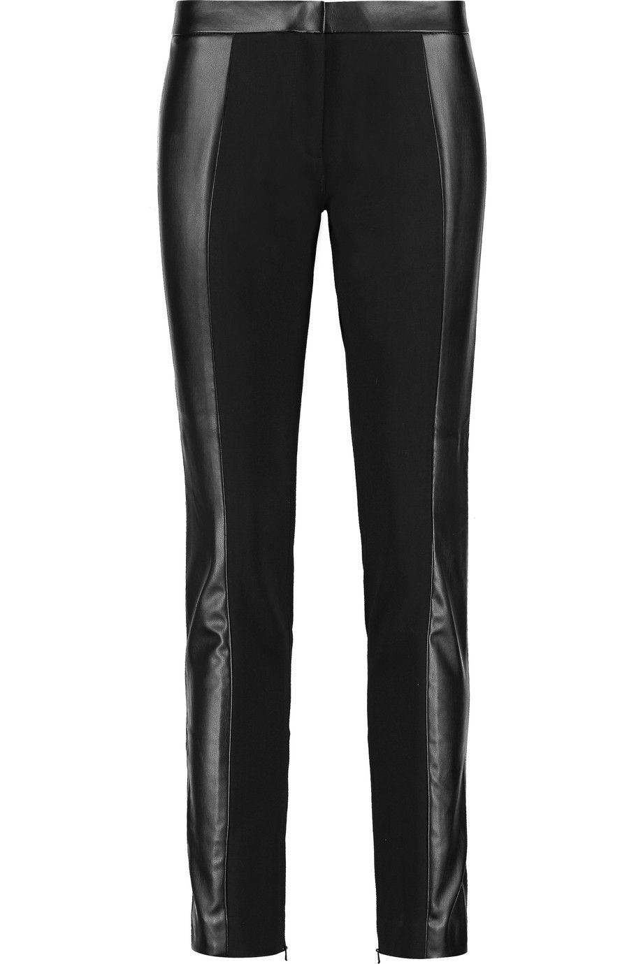 TORY BURCH Mabley faux leather and stretch-jersey slim-leg pants. #toryburch