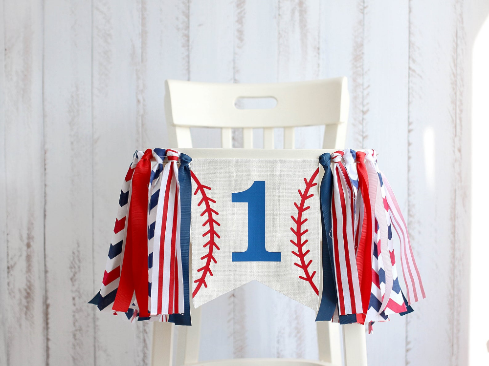 1st Birthday Banner Baseball Fabric Banner Baseball High Chair Banner Highchair Banner Baseball First Birthday Banner Baseball Birthday