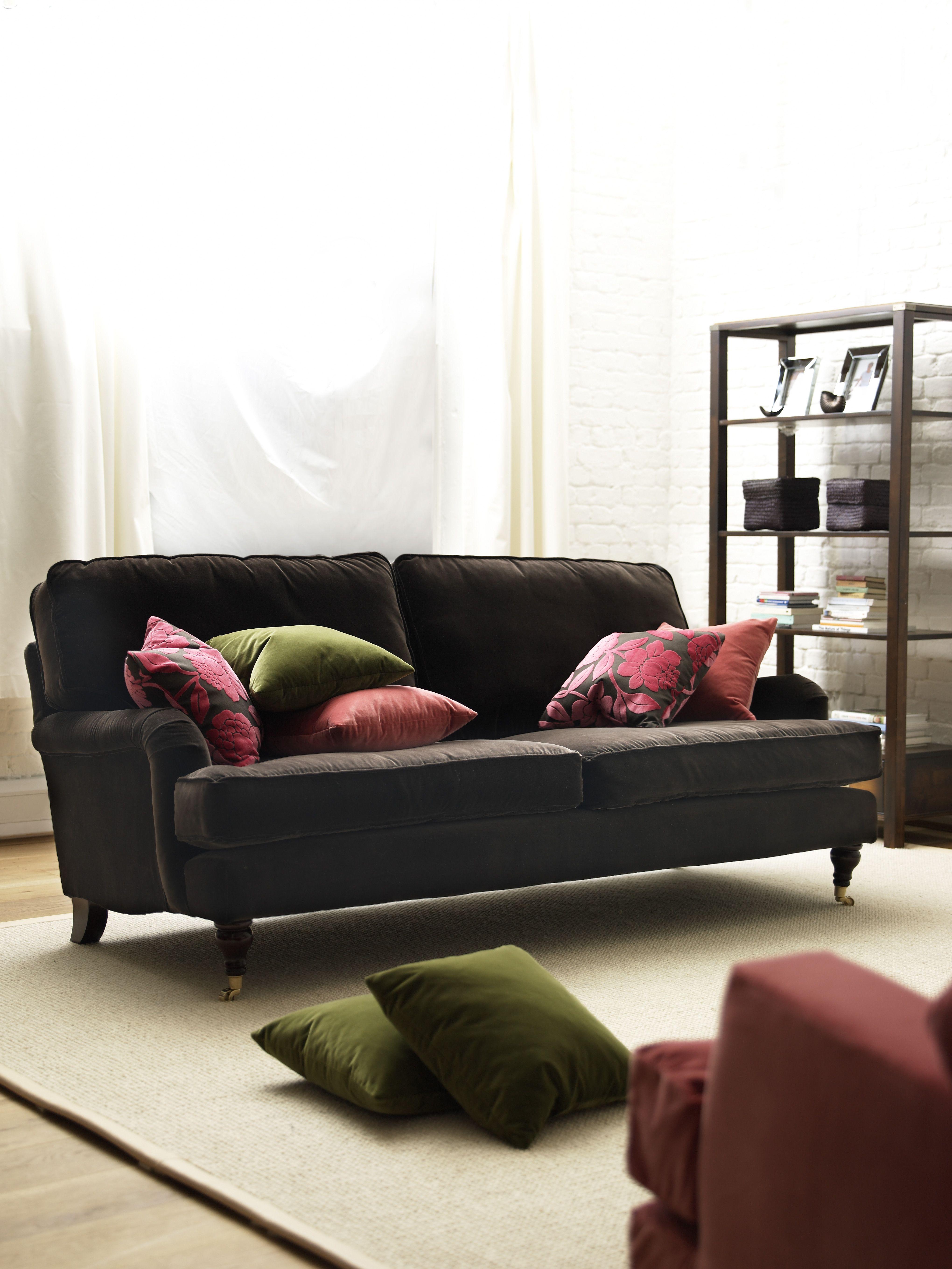 Bluebell three seat sofa in cotton matt velvet Elephant
