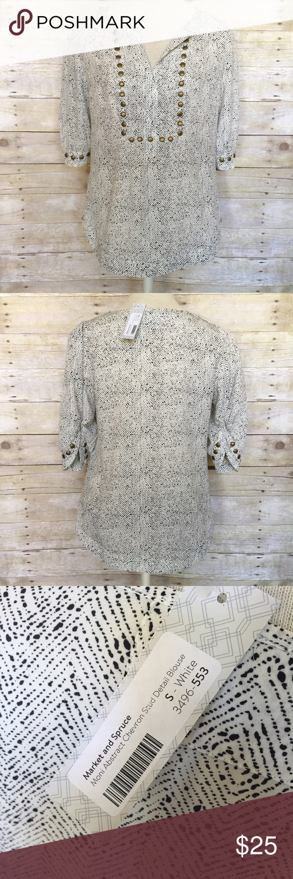 64fb1730533 Market Spruce Stitch Fix blouse Small NWT Market Spruce black and cream  Polyester blouse with brass