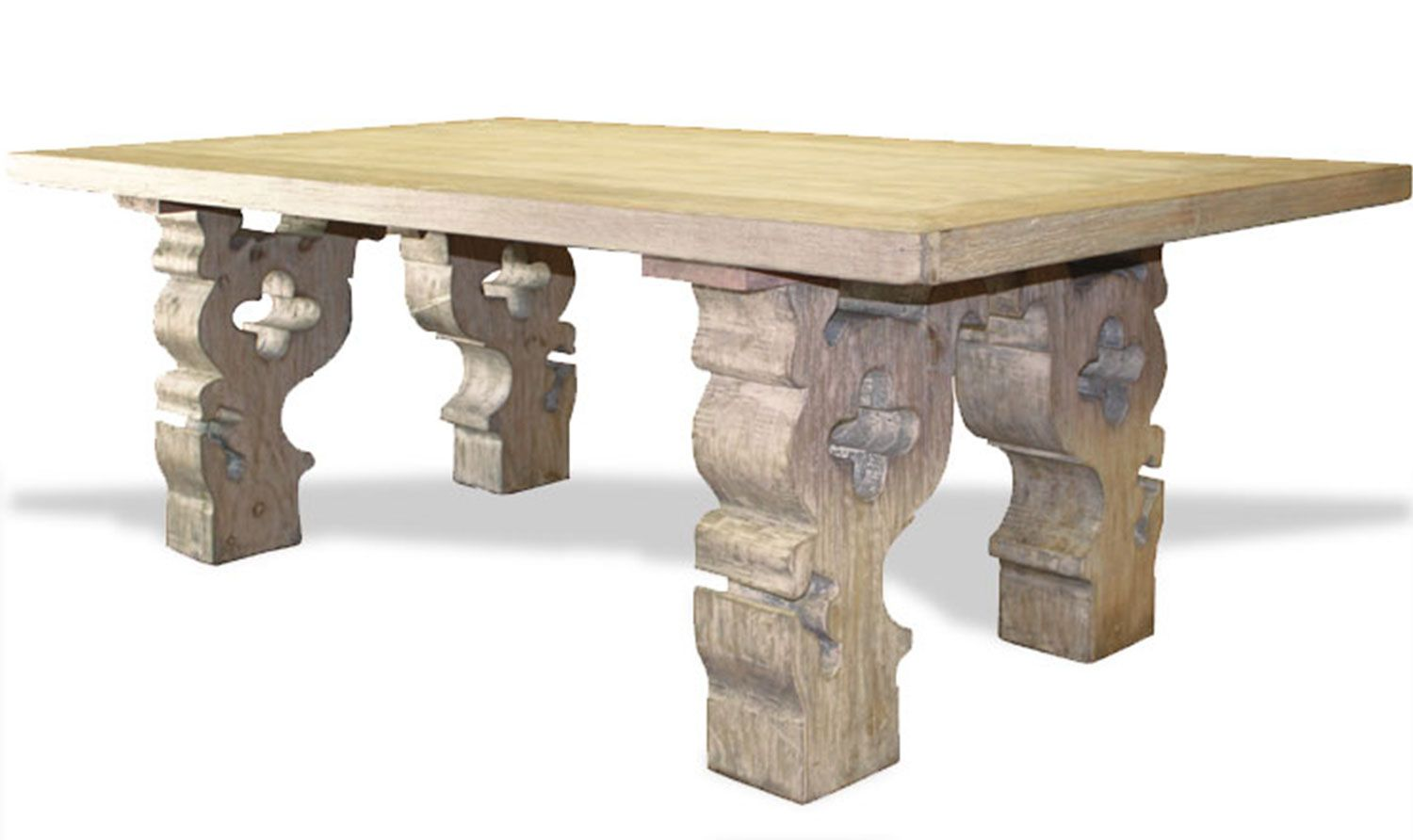 OLD WORLD LOUISA DINING TABLE CARVED CORBELS