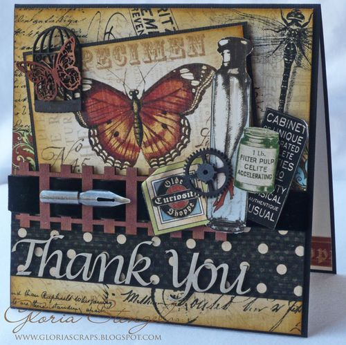 Beautifully textured Olde Curiosity Shoppe Thank You card by @Gloria Stengel! Stunning! #graphic45 #cards
