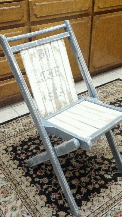 Vintage Slat Chairs Distressed New Port Blue With Antq White Tri And Seat Hand Painted By Th Wooden Chair Makeover Garden Chairs Design Painted Wood Chairs