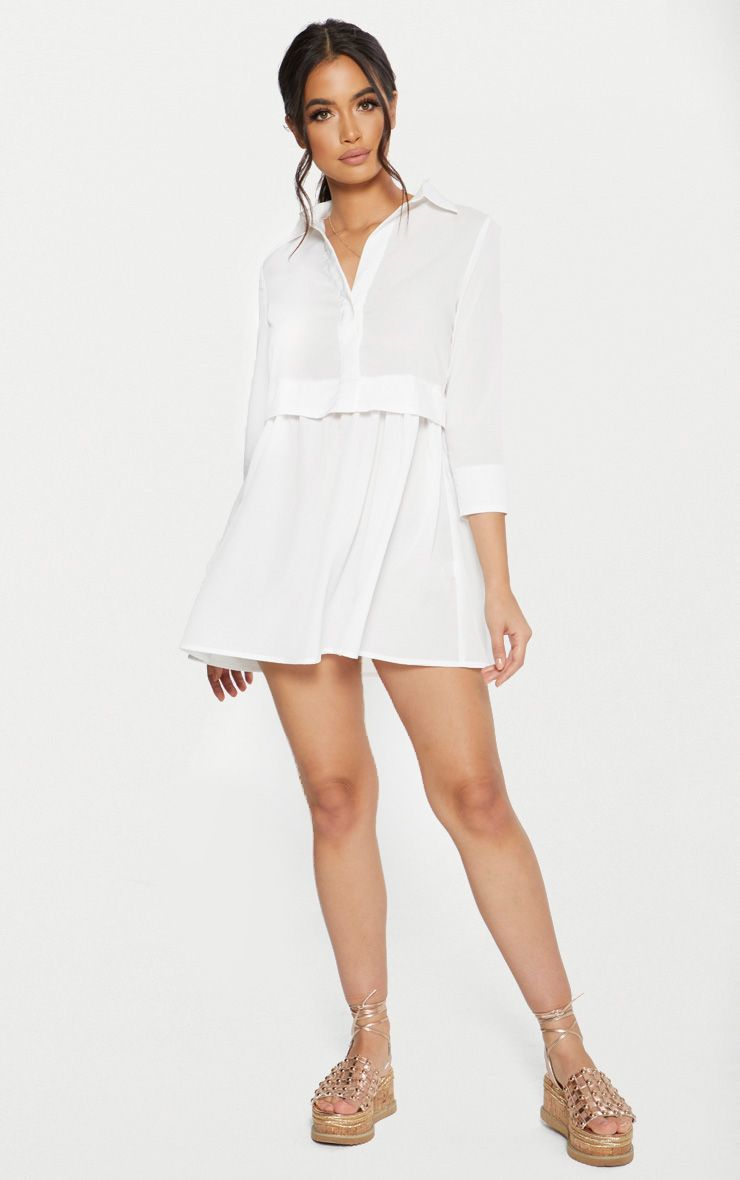White Layer Shirt Dress Dresses Layered Shirts Shirt Dress [ 1180 x 740 Pixel ]