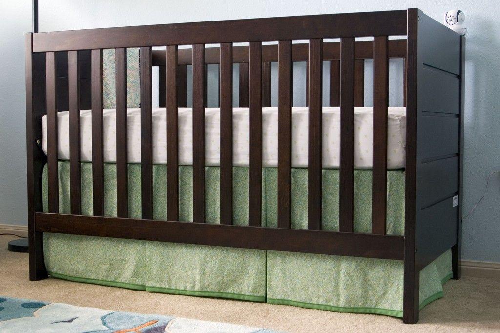 DIY Crib Skirt - uses three panels velcro-ed to sides and metal ...