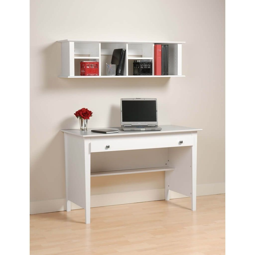 Wall mounted computer table designs - White Computer Desk For Small Spaces With Wall Mounted Bookshelves Choose One Of Recommended Computer
