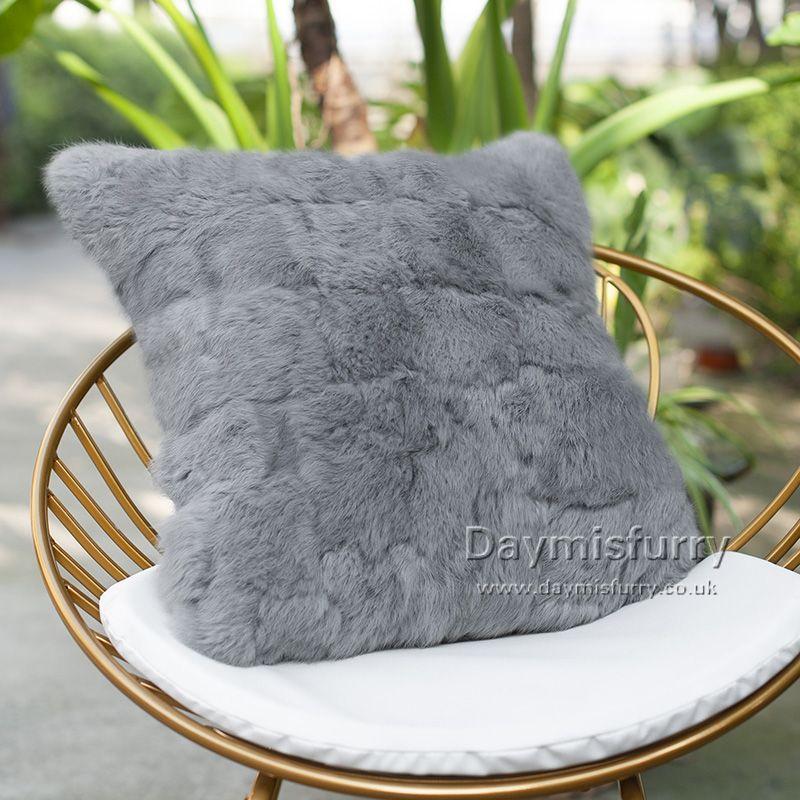 DMD28A Dyed Pieced Rabbit Fur Pillow