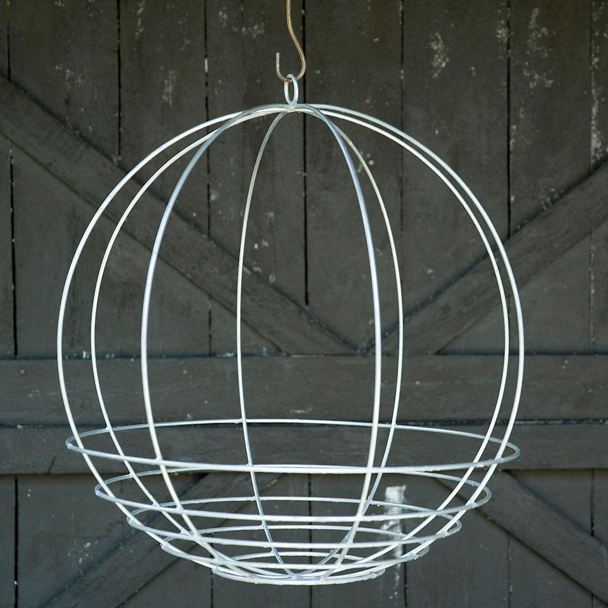 Zinc Sphere Hanging Basket Hanging Baskets Wire Hanger Crafts Hanger Crafts