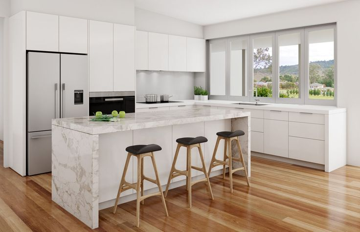 Calacatta Nuvo White Kitchen Light Coloured Floorboards