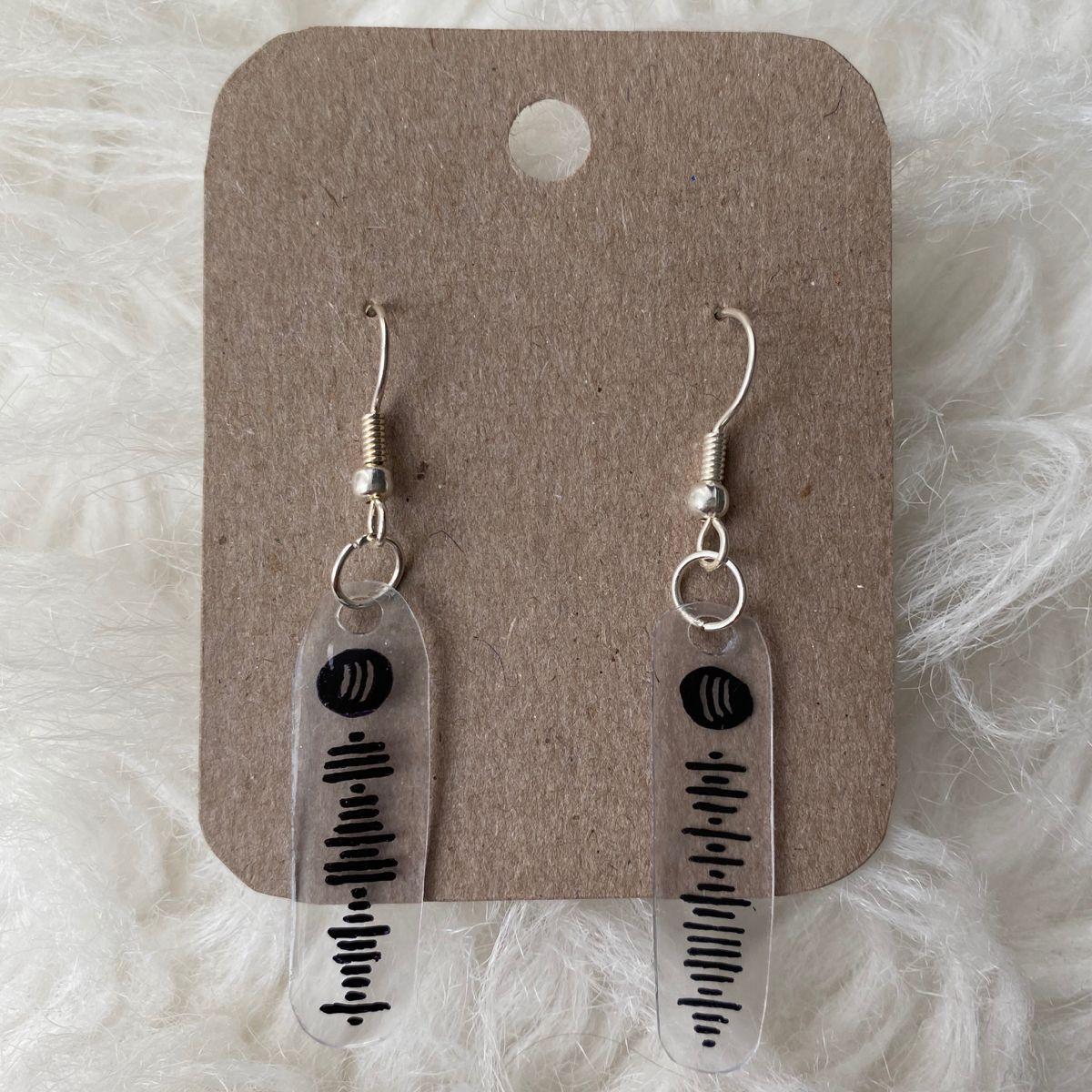 Custom spotify code earrings quirky earrings homemade