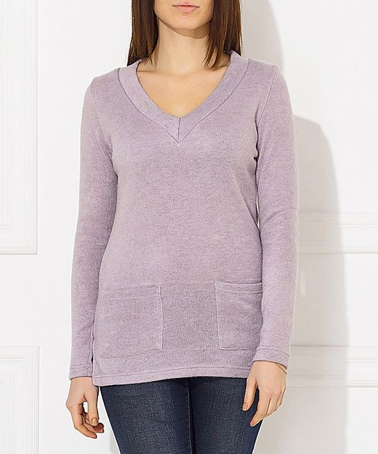Gray Wool-Blend V-Neck Top - Plus Too