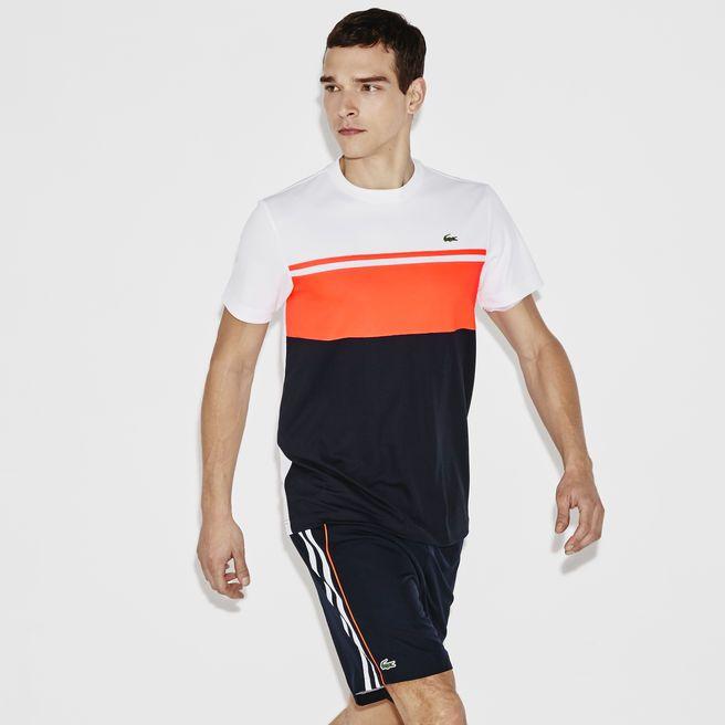 e2a20ebe96998 Camiseta gola careca color block Lacoste SPORT de pique ultra-dry ...