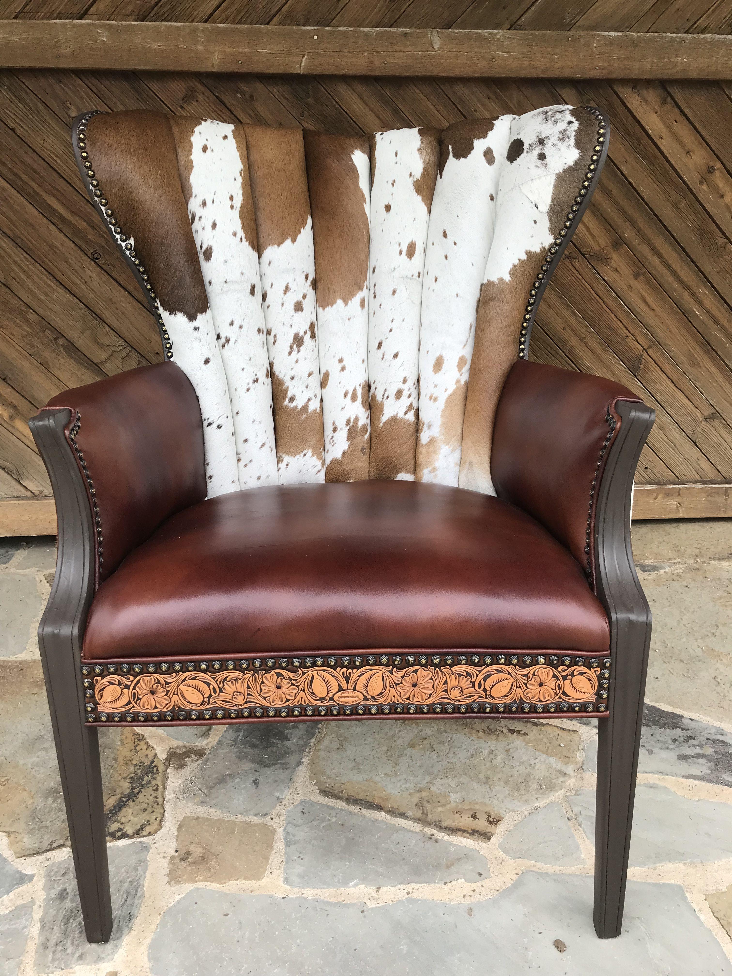 Cowhide chair cowhide chair chair wingback chair