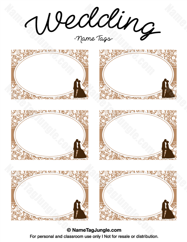 Free Printable Wedding Name Tags The Template Can Also Be Used For - Wedding name tag template