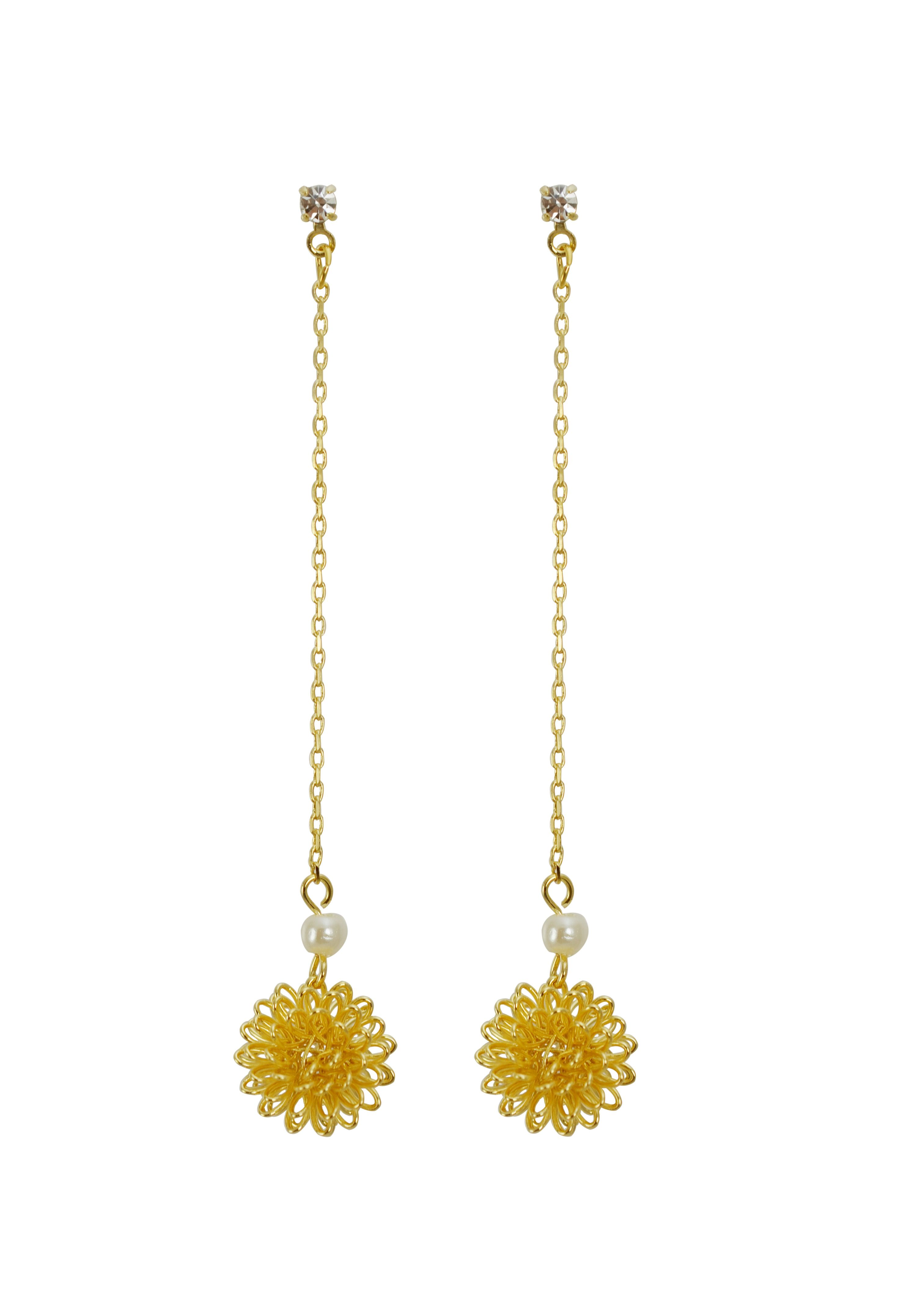 Flower mesh drop earrings with cubic studs  from YourBasicJewelry