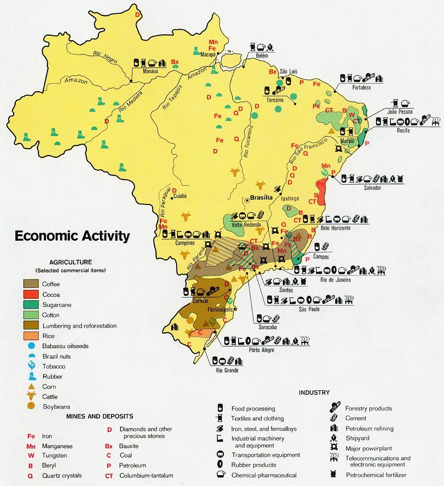 Pocket book still open in brazil americans for brazil map of the economic activity of brazil 1977 gumiabroncs Image collections