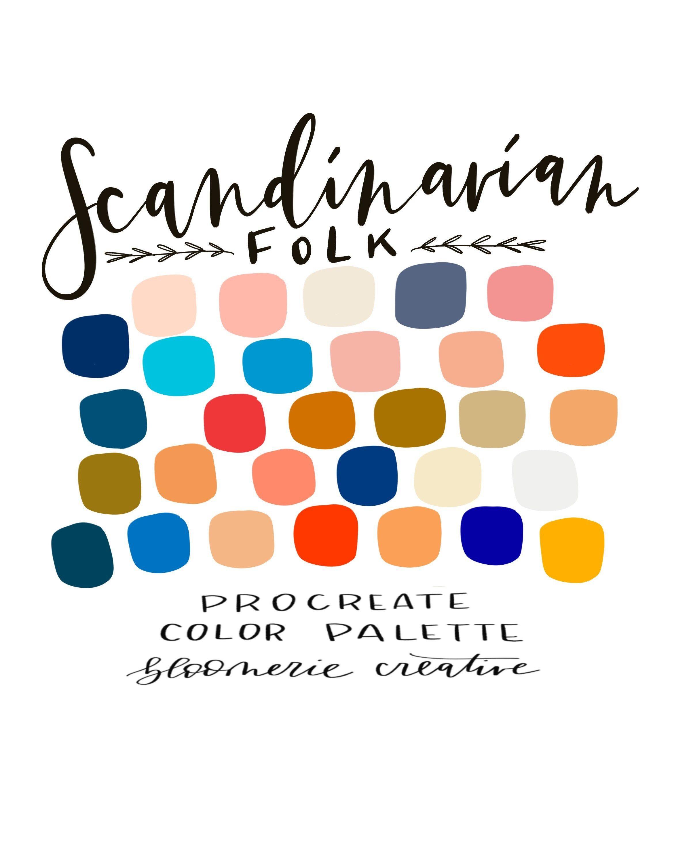 Scandinavian Folk Spring Summer Bright Procreate Etsy In 2020 Color Palette Design Summer Color Palette Spring Color Palette