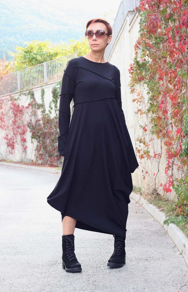 Dress Women Long Sleeves Dress Black Dress With Pockets Etsy Women Long Sleeve Dress Black Dress With Pockets Stylish Black Dress [ 1231 x 794 Pixel ]