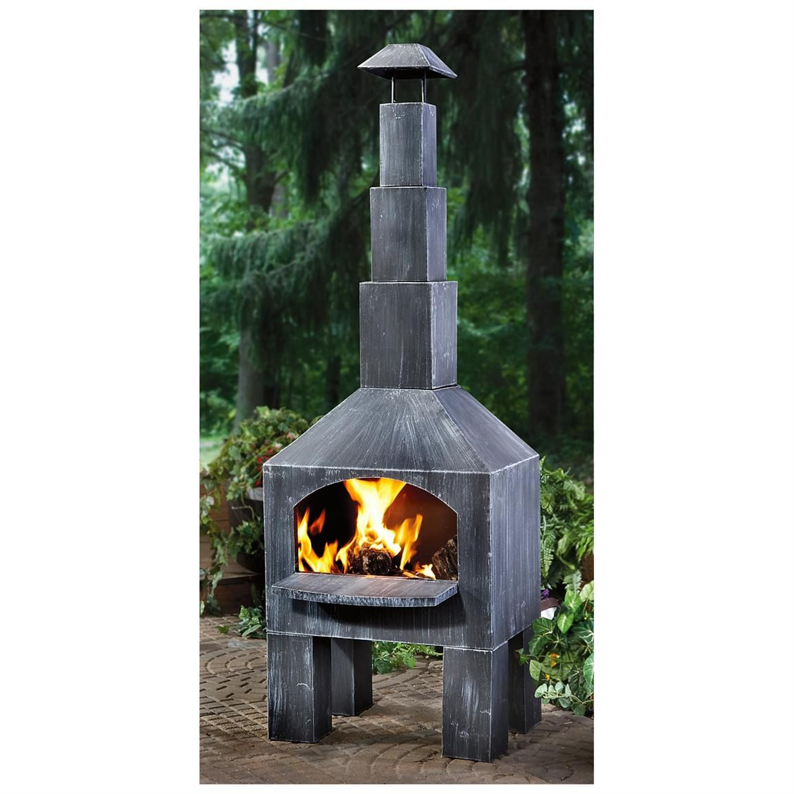 CASTLECREEK Outdoor Cooking Steel Chiminea