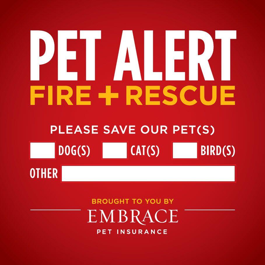 Pet alert dog cat emergency sign - sticker decal cling magnet inside window