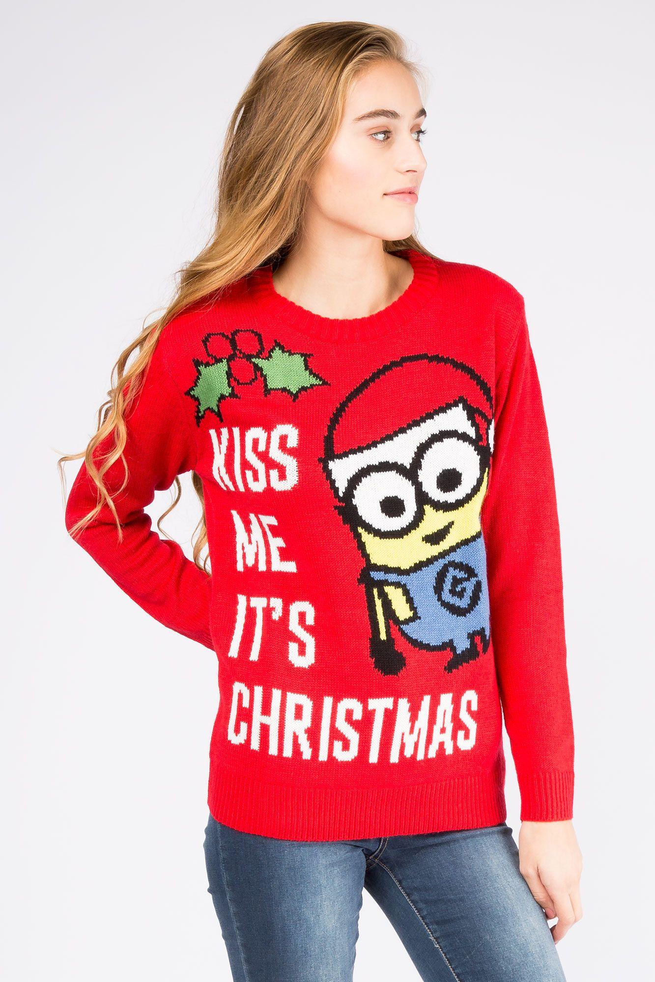 Girls Kiss Minion Christmas Sweater | Crazy Christmas | Pinterest ...