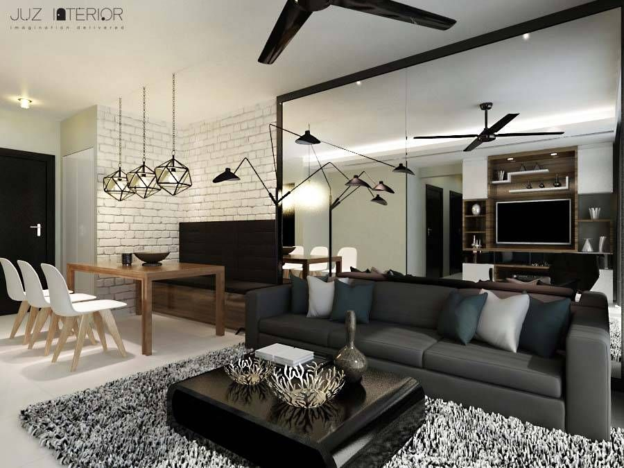 Sengkang, Scandinavian HDB Interior Design, Living U0026 Dining Room.