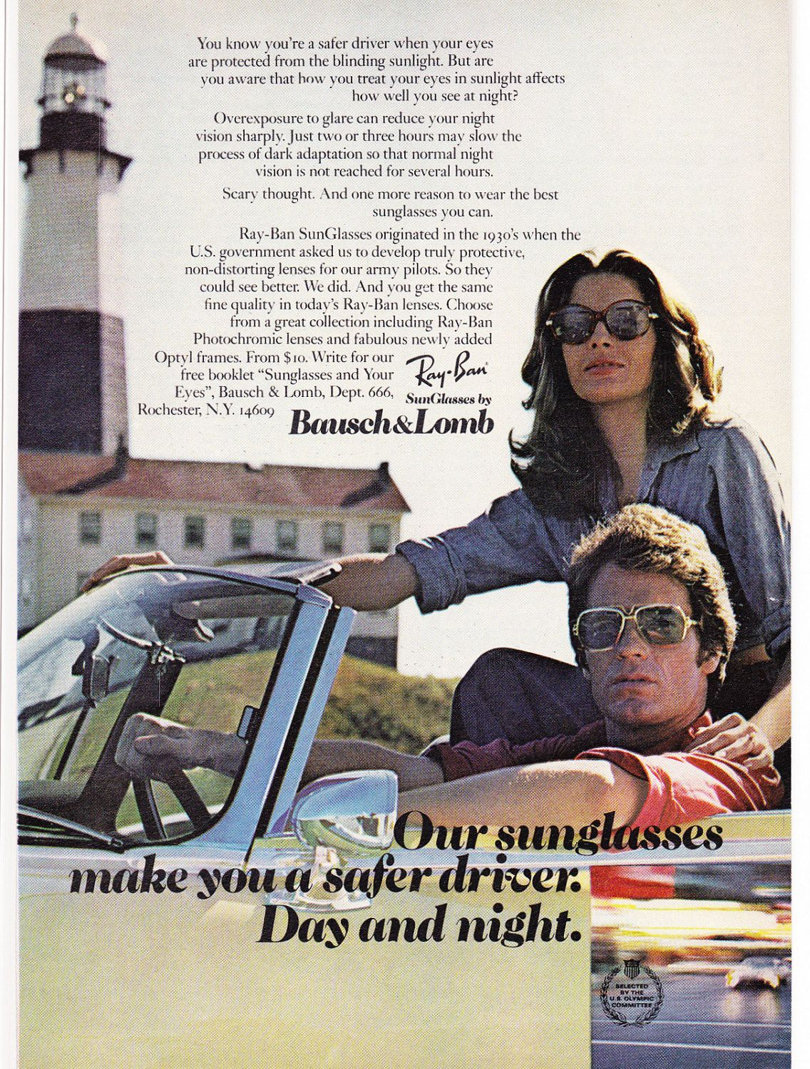 Ray ban sunglasses for couple - A 1974 Advertisement By Ray Ban Sunglasses And Bausch Lomb Featuring A Couple On