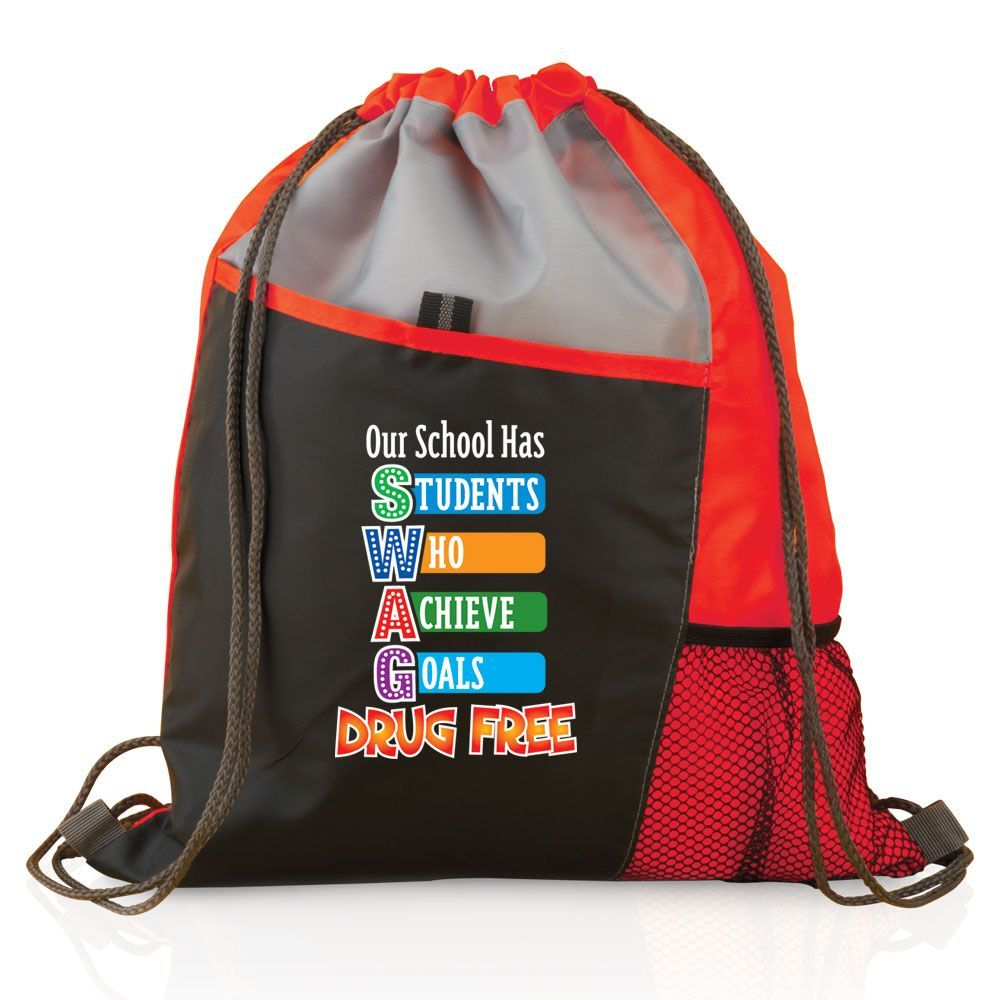 Our School Has SWAG (Students Who Achieve Goals) Drug Free - Drawstring Backpack