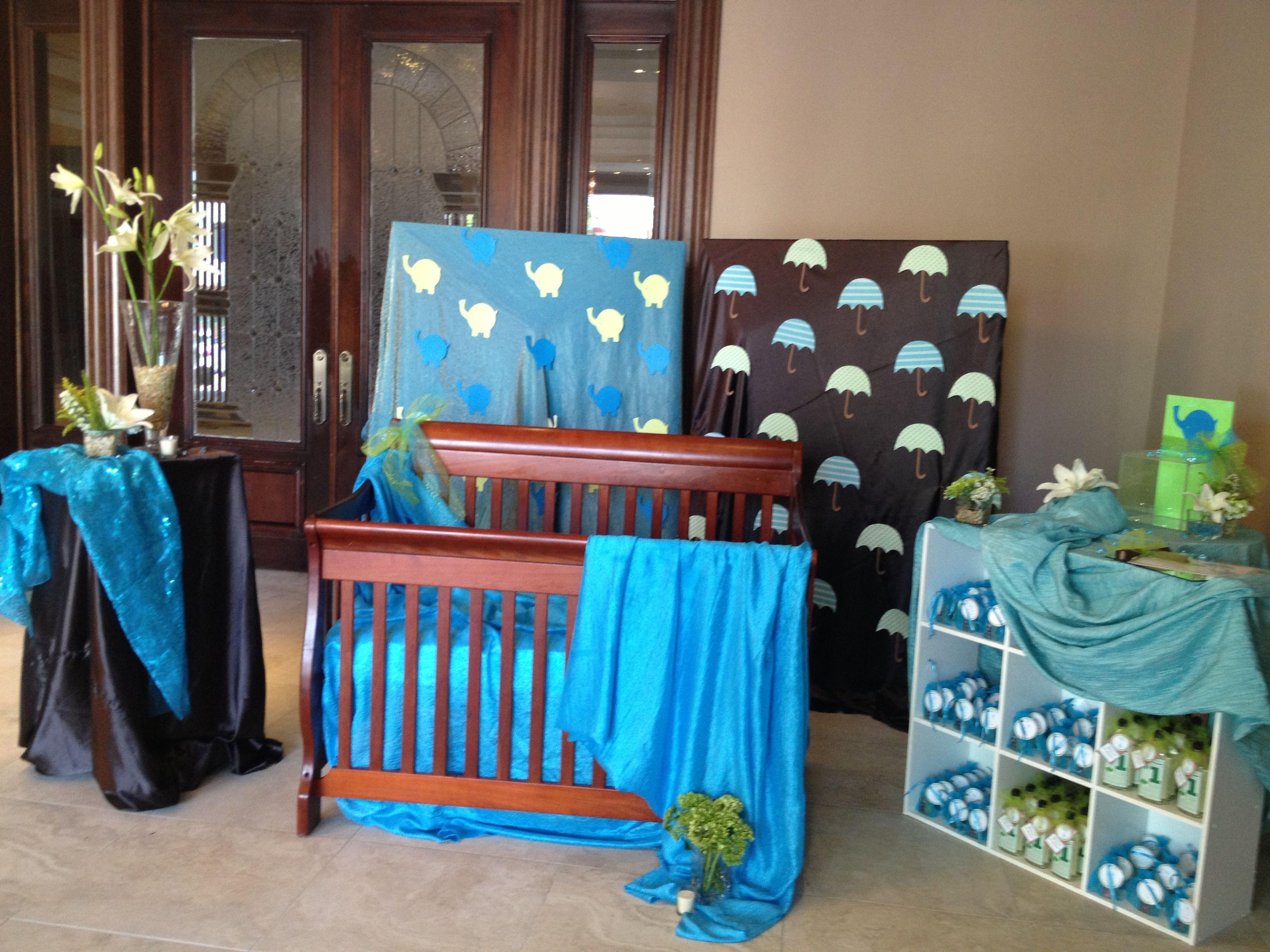 decoracion de entrada para baby shower elefantes paraguas y